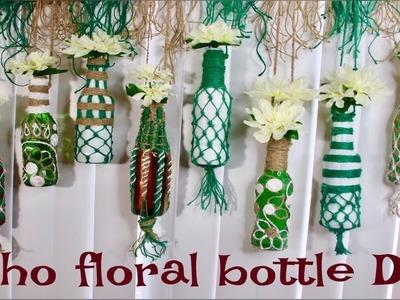 (HINDI) DIY How to reuse bottles | Bohemian + Spring Decor | Glass bottle crafts