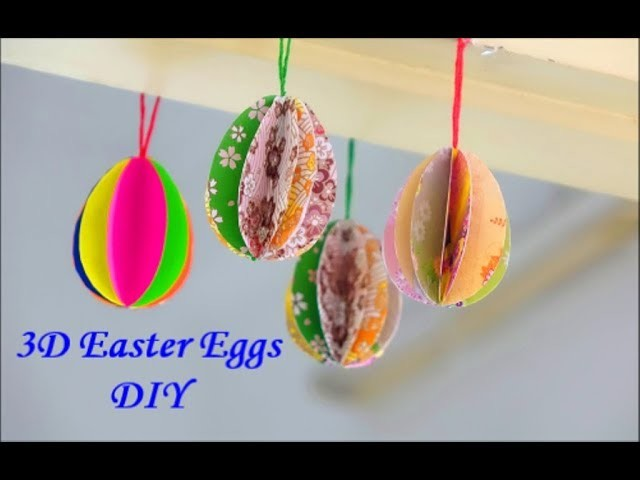 How to make 3D paper Easter Eggs Very easily ~ DIY Easter Decor ~ Tutorial.Instructions.
