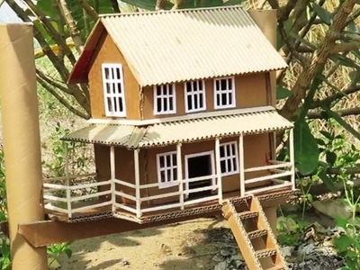 How To Make A Beautiful Traditional House From Cardboard -  Crafts Ideas  -  Project For Kids