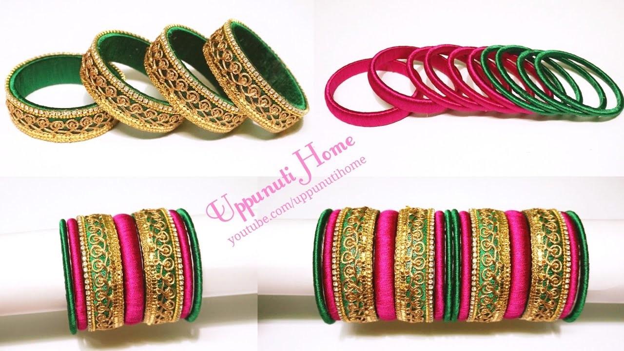 How To Make Beautiful Designer Silk Thread Bangles At Home | DIY | Fancy Silk Thread Bangles Set |