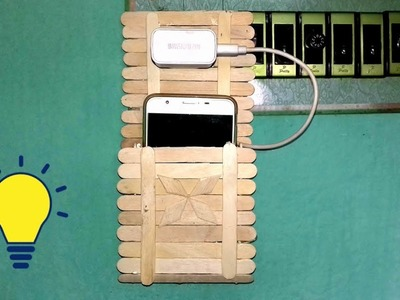How to make charging holder from waste icecream stick | easy popsicle stick mobile holder making.