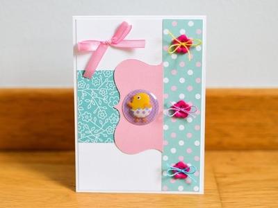 How to make : Spring Card with Easter Chicken | Kartka Wielkanocna z Kurczakiem - Mishellka #283 DIY