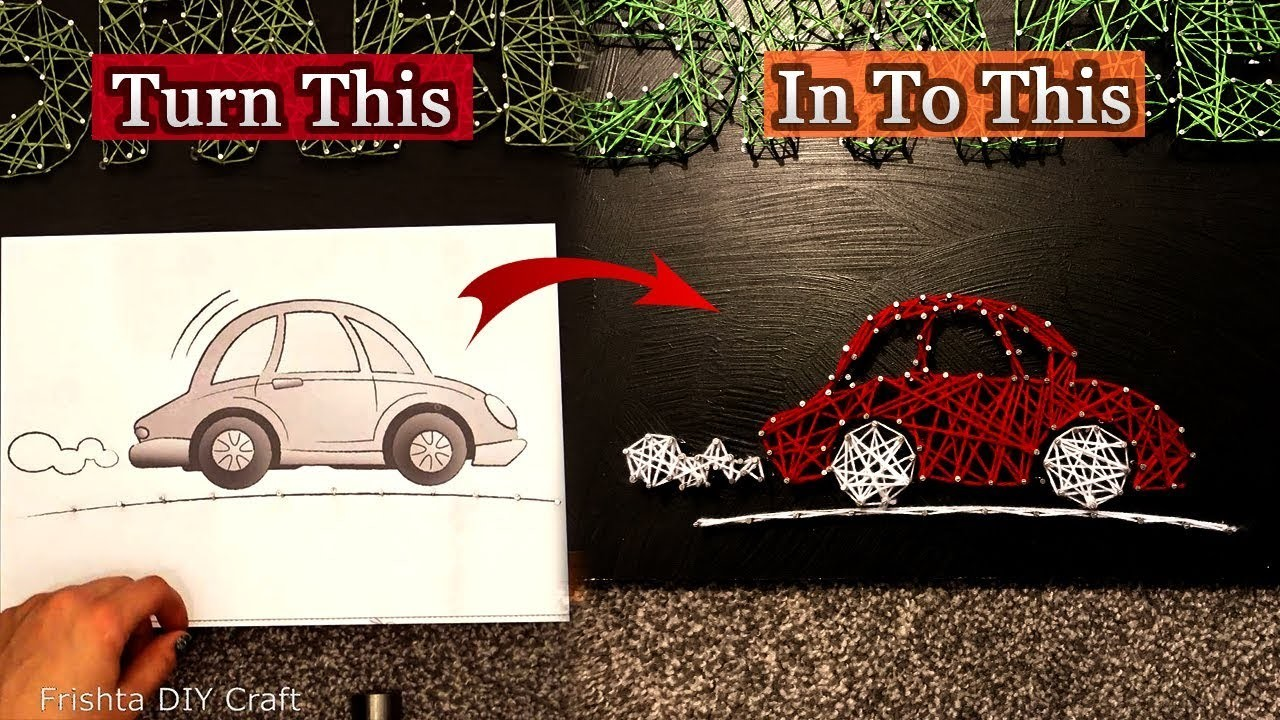 How to make string art car | Tutorial | step by step string art | beginners string art 2018
