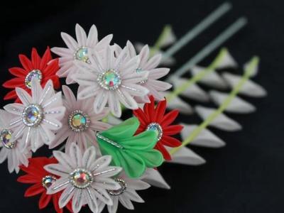 Kanzashi flower【medium】-Chrysanthemum with stone – pink -