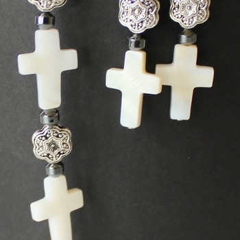 Mother of Pearl Cross and Flower Bead Bracelet and Earrings Set