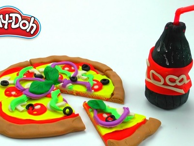 Play Doh DIY Food Pizza and Coca-Cola Restaurant Playset |How to make videos for Kids