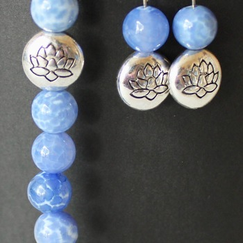 Powder Blue Marble with Lotus Accent Bead Bracelet and Earrings Set