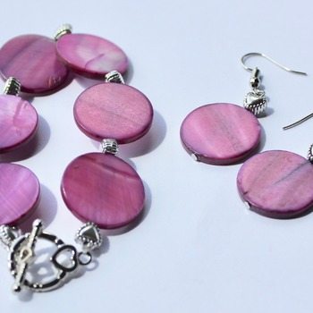 Purple Disc and Heart Bead Bracelet and Earrings Set