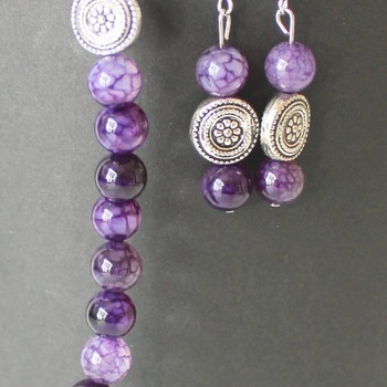 Purple Marble and Round Accent Bead Bracelet and Earrings Set