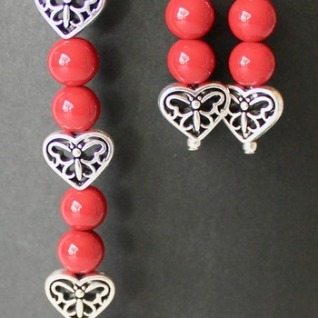 Red Bead and Heart Shaped Butterfly Beads Bracelet and Earrings Set
