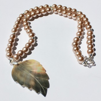 Smoke Glass Pearl Necklace with Leaf Shaped Abalone Shell Pendant
