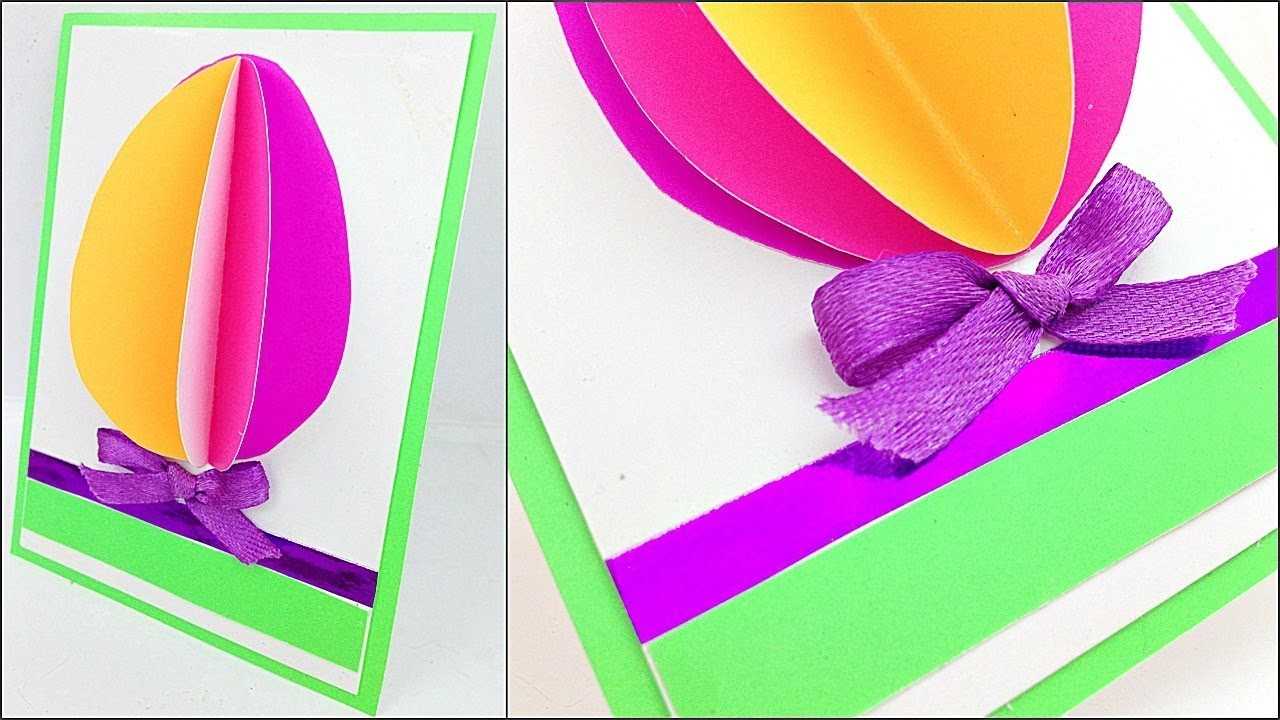 3D Easter Egg Greeting cards to make ideas Step by Step DIY. easter paper crafts for kids