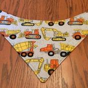 Baby Bandana Bib with Trucks  -  Drool Bib, Teething Bib, Dribble Bib - Handmade