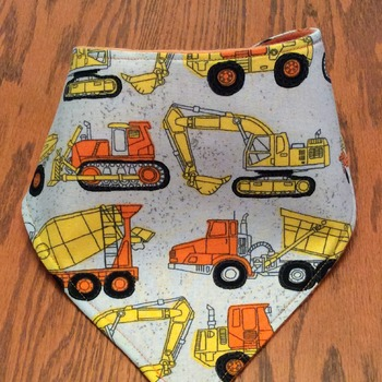 Baby Bandana Bib with Trucks  -  Drool Bib, Teething Bib, Dribble Bib - Handmade