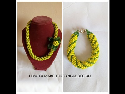 Bead tutorial.how to make spiral  necklace with 2 seed bead