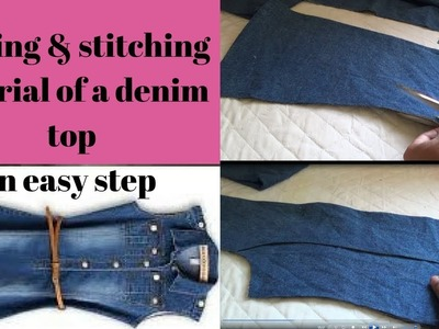 Designer jeans tunick top for baby girl cutting & stitching tutorial step by step in easy method