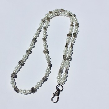 Handmade Glass Pearl and Flower Accent Bead Lanyard/Badge Holder