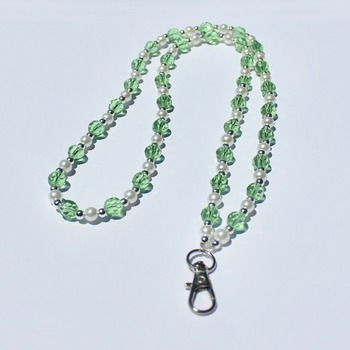 Handmade Green Bead and Glass Pearl Lanyard/Badge Holder