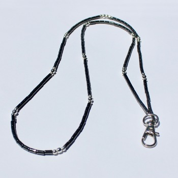 Handmade Hematite Tube Bead and Silver Plated Accent Bead Lanyard/Badge Holder