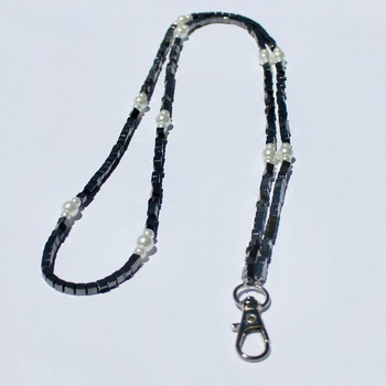 Handmade Square Hematite Bead and Glass Pearl Accent Beads Lanyard/Badge Holder