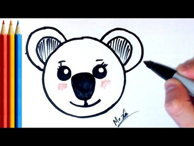 How to Draw Koala face (Super Easy) - Step by Step Tutorial