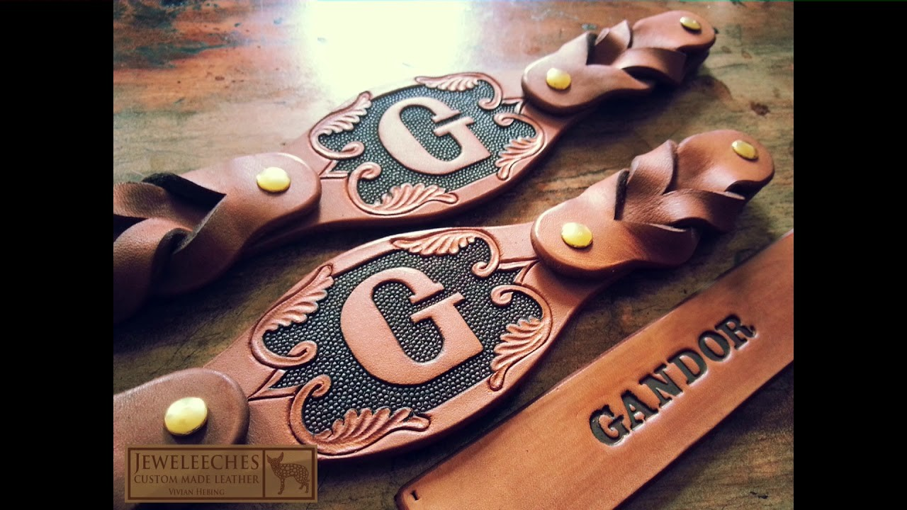 JEWELEECHES: stunning leather dog collars with copper rivets and glass beads!