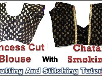 Princess Cut Blouse   Back Neck Smoking Pattern   Designer Blouse Tutorial