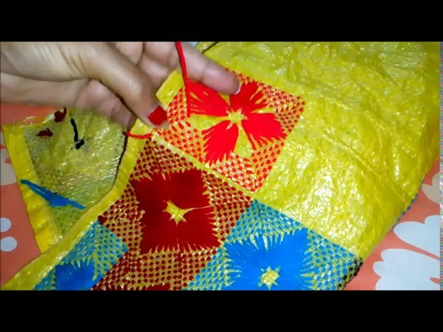 Table mat stitch on Plasti Sack. Hand embroidery on plastic Sack. Hand embroidery. Supriya Talukder.