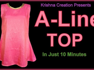 A-Line Kurti cutting and stitching | A Line Sleeveless Top | in Hindi By Krishna Creation