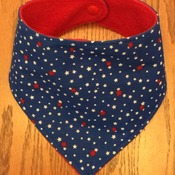 Baby Bandana Bib, Red, White and Blue,  Drool Bib, Teething Bib, Dribble Bib - Handmade