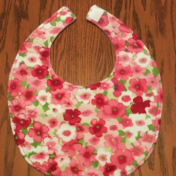 Baby Bib -Drool Bib - Pink and White Flowers - Handmade - Baby Girl Bib