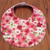 Baby Bib -Drool Bib - Pink and White Flowers - Handmade - Baby Girl Bib