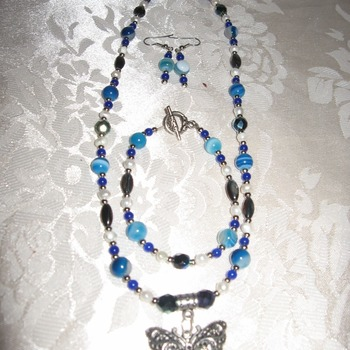 Brand New Original Handmade Blue Agate Butterfly Complete Necklace Set
