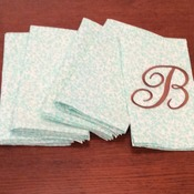 Cloth Dinner Napkins - Aqua and White Delicate Floral Print  - Handmade -  Eco Friendly
