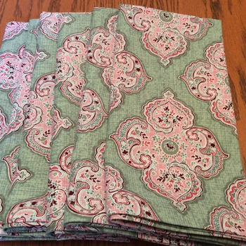 Cloth Dinner Napkins - Pink and Green Print - Handmade -  Eco Friendly