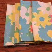Cloth Dinner Napkins - Pink, Blue and White Floral Design - Handmade -  Eco Friendly