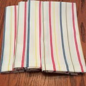 Cloth Dinner Napkins - Vintage - Stripe Napkins - Monogrammed - Handmade