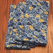 "Dinner Napkins - Vintage Design - ""Free Shipping"" -  Cloth Dinner Napkins  - Blue and Yellow Floral Design -Handmade"