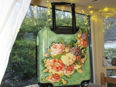 DIY Decoupage a plastic Suitcase for Craft Supplies
