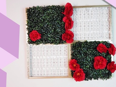 DIY Floral and Crystal Wall Panel