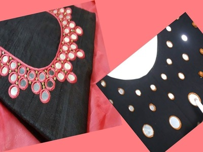 Embroidery Mirror Work  For Round Neck Kurti. Kurta. Chudidar (DIY) Very Easy To Make