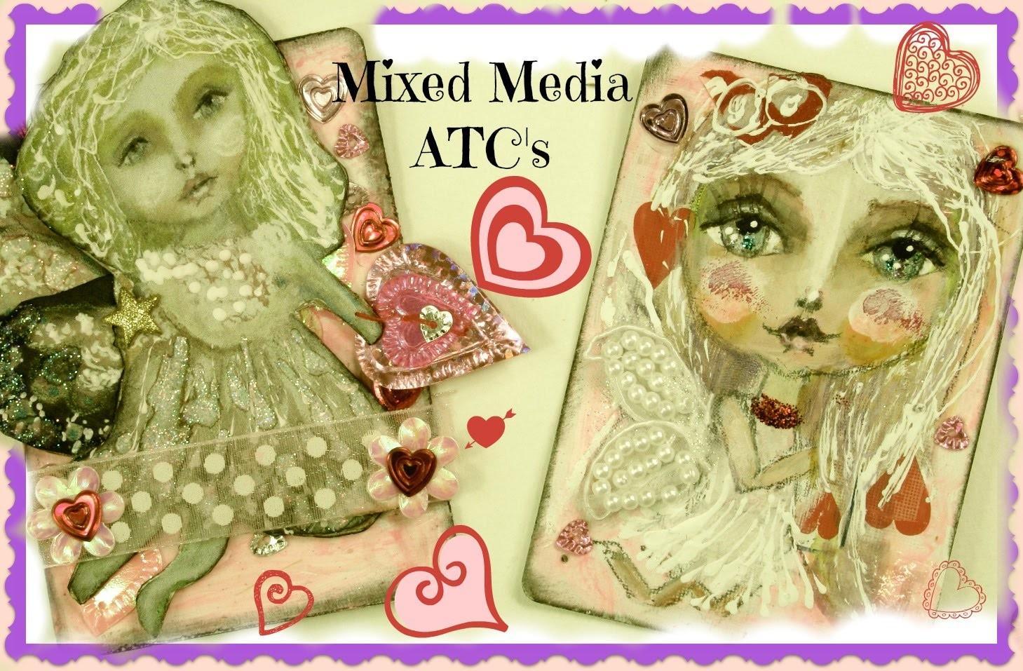 Fairy Doll Mixed Media Art | Valentines ATC's | Watercolor | Acrylic