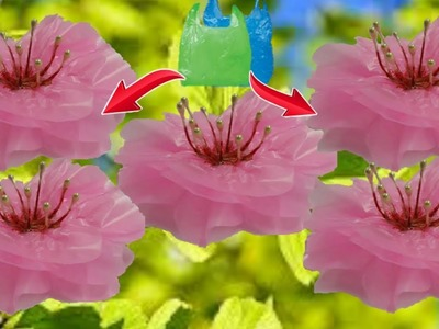 Flower From plastic.polythene bag step by step at home-Best out of waste flower making