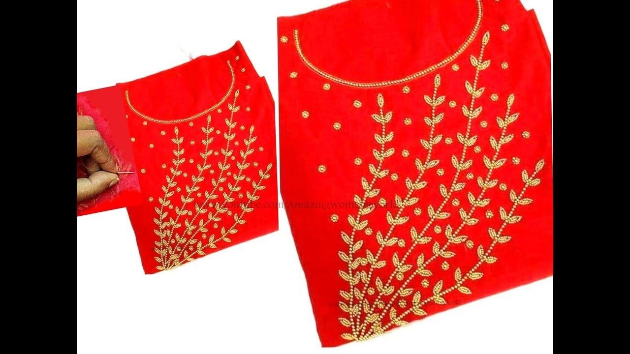 Gold Beads Designing For Churidar Kurti Very Simple Easy Aari