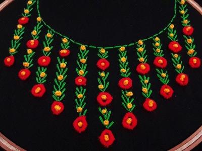 Hand Embroidery: Neckline Embroidery for dress| Blouse | Shirts | Kurtis | Churidar by nakshi katha.