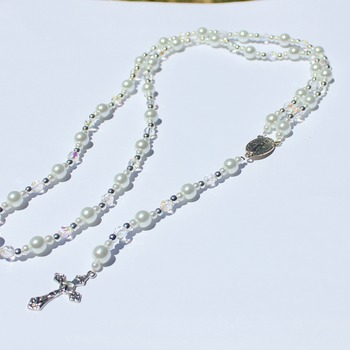 Handmade Glass Pearl and Clear Iridescent Bead Rosary