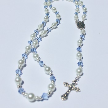 Handmade Glass Pearl and Light Blue Bead Rosary