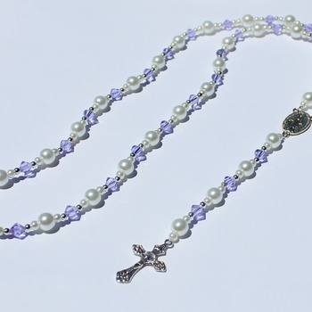 Handmade Glass Pearl and Light Purple Bead Rosary