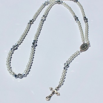 Handmade Glass Pearl and Iridescent Gray Bead Rosary