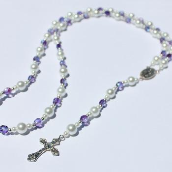 Handmade Glass Pearl and Iridescent Purple Bead Rosary